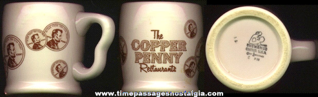 Old COPPER PENNY RESTAURANTS Heavy China Advertising Coffee Cup