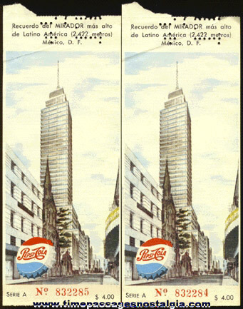 (2) 1950's PEPSI COLA Mexican Tickets