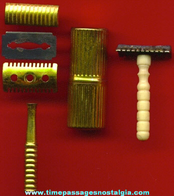 (2) Old Portable Miniature Shaving Razors