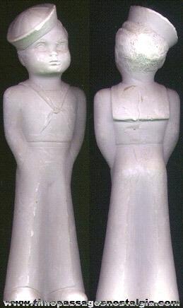 Old Unpainted Sailor Chalkware Figure