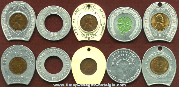 (5) Old GOOD LUCK Advertising Tokens and/or Fobs