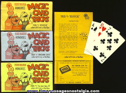(3) ©1973 Premium Magic Card Tricks From Red Barn Restaurants