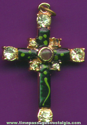 Jeweled Cross Necklace Pendant With A Stanhope Viewer