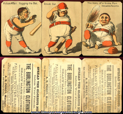 (3) Early Advertising Trade Cards With Comical Baseball Scenes