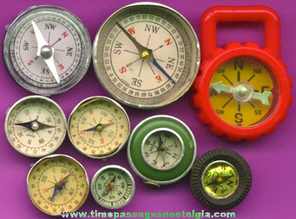 (9) Different Small Or Miniature Compasses