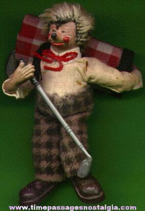 Strange Hedgehog Character Golfer Figure
