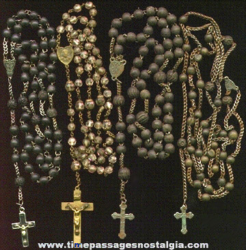 (4) Old Sets Of Rosary Beads
