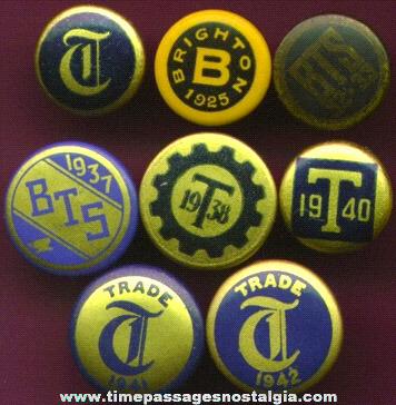(8) Different Old Celluloid Stud Lapel Buttons