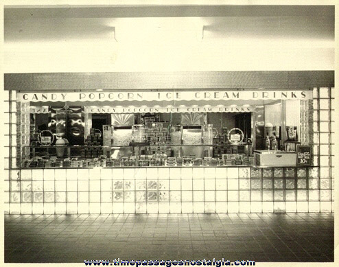 (2) Large Old Movie Theatre Concession / Candy Stand Photographs