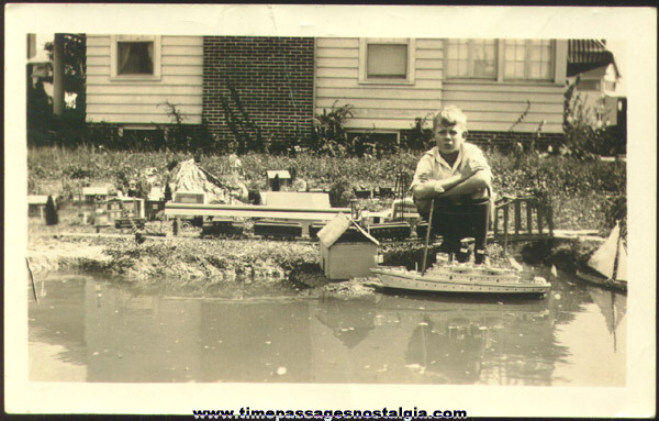 1925 Photograph Of A Boy And His Train Layout & Boats