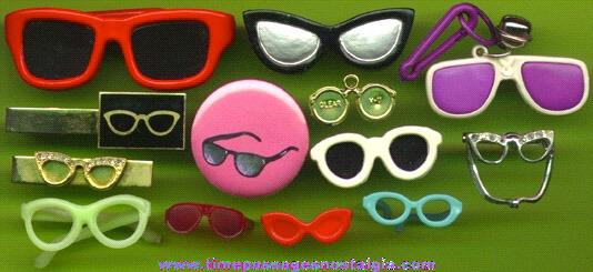(13) Eye Glass Pins, Miniature, Charms, Etc.