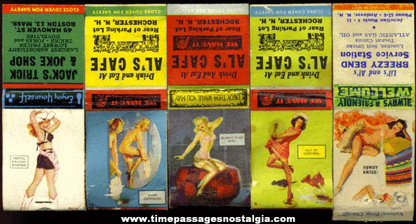 (5) Old Risque Advertising Match Book Covers