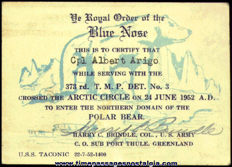 1952 United States Army / Navy Blue Nose Card