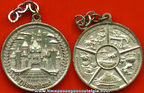 Old Disneyland Advertising Medal Or Key Chain Fob