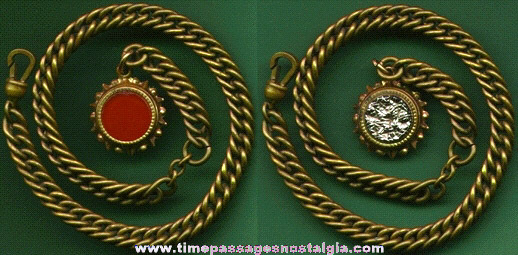 Old Unusual Pocket Watch Chain With Two Sided Charm