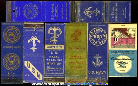 (8) Different Old United States Navy Match Book Covers