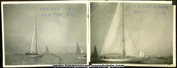 "(2) 1937 U.S. Cup Winner ""RANGER"" Sailboat Photographs"