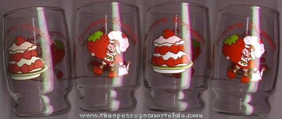 (4) Matching STRAWBERRY SHORTCAKE Drinking Glasses