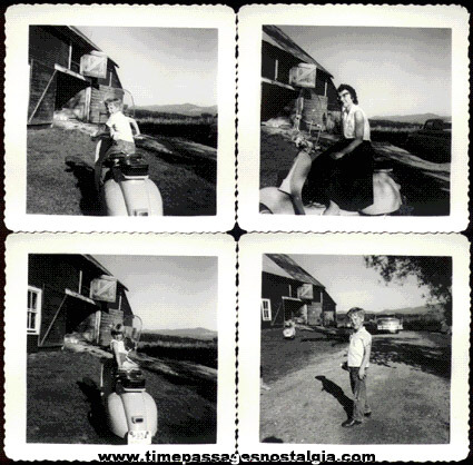 (4) Old Motorcycle / Scooter Photographs