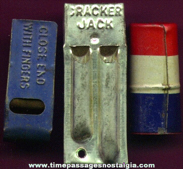 (3) Different Old Cracker Jack Premium / Prize Whistles