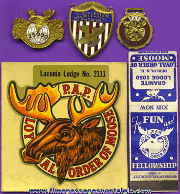 (5) Old MOOSE LODGE Fraternal Items
