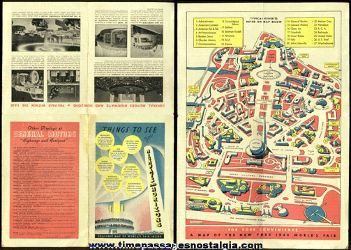 1939 - 1940 GENERAL MOTORS HIGHWAYS AND HORIZONS NEW YORK WORLD'S FAIR MAP