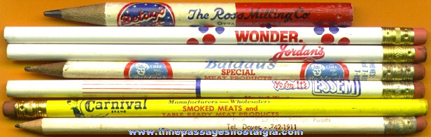 (7) Old Food Advertising Premium Pencils