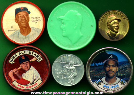 (6) Different Old Baseball Premium Coins