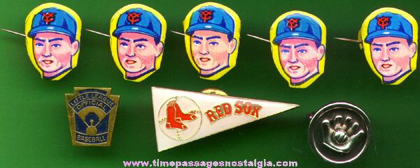 (7) Old Baseball Pins & Baseball Cufflink