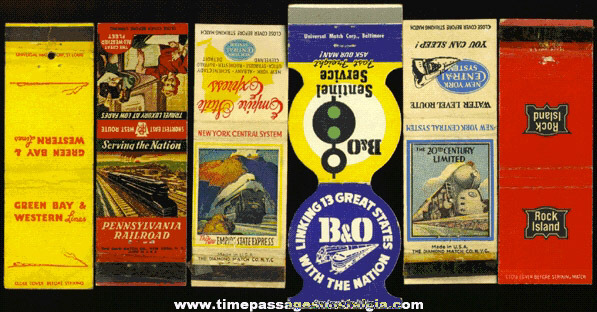 (6) Old Railroad / Train Advertising Match Pack Covers