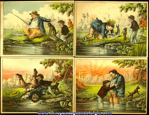 (4) Old Colorful & Consecutive Advertising Trade Cards