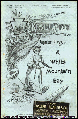"1898 ""A WHITE MOUNTAIN BOY"" PLAY BOOK"