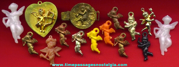 (15) Small Old Valentine Cupid Items
