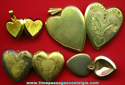 (4) Small Old Heart Jewelry Lockets