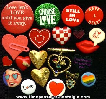 (20) Small VALENTINE, Love, & Heart Pins