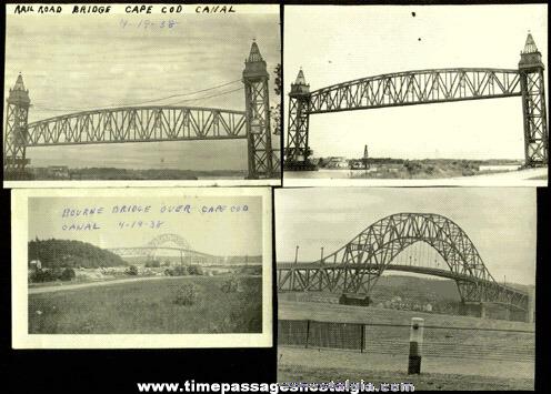 (4) 1938 CAPE COD Bridge Photographs
