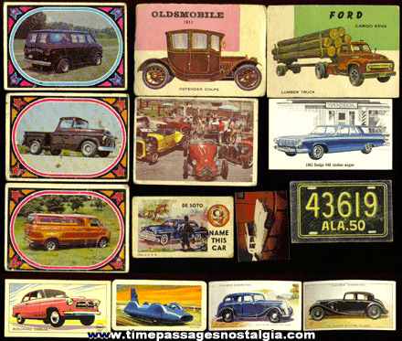 (14) Mixed Old Car & Truck Trading Cards