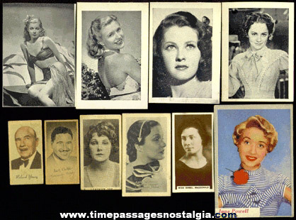 (10) Different Old Movie / Film Star Trading Cards