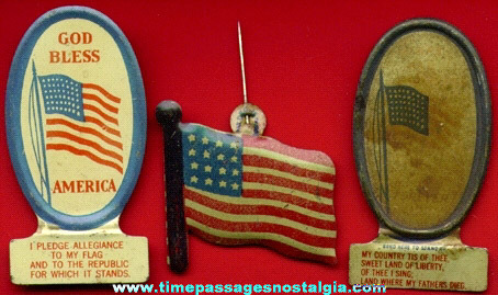 (3) Old CRACKER JACK LITHOGRAPHED TIN FLAG Prizes / Premiums