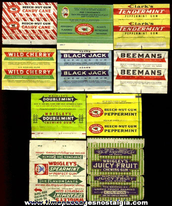 (10) Different Old Chewing Gum Wrappers