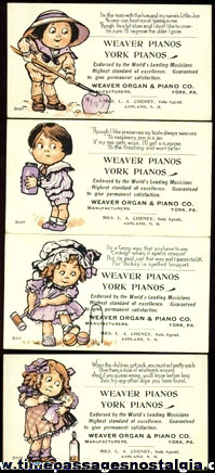 (4) Old PIANO Advertising Ink Pen Blotters