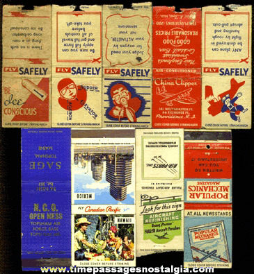 (9) Old Airplane Advertising Match Book Covers