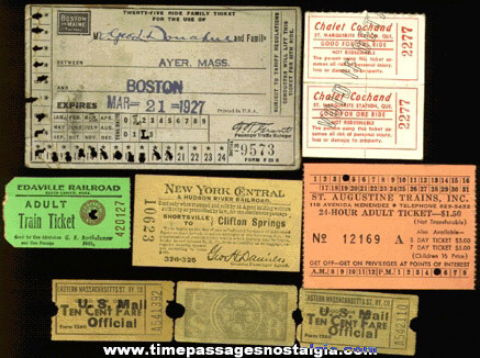 (9) Old Train / Railroad Tickets