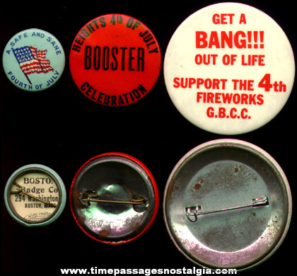 (3) Old 4th of July Pin Back Buttons