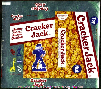 RARE 1950's Unused Cracker Jack Box Foil Wrapper