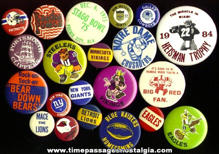 (21) Football Pin Back Buttons