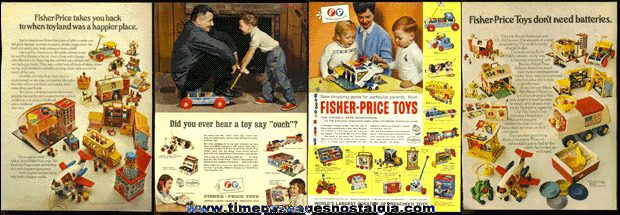 (4) Old Fisher-Price Toys Magazine Advertisements