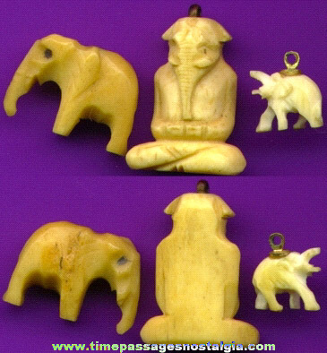 (3) Old Carved Ivory Or Bone Charms