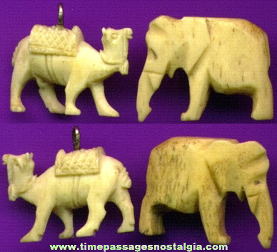 (2) Old Carved Ivory Or Bone Charms