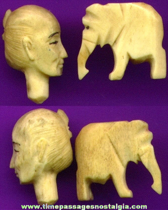 (2) Old Carved Ivory Or Bone Items